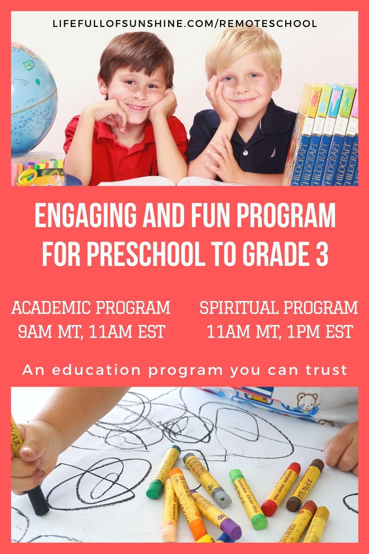 summer online school for preschool to grade 3